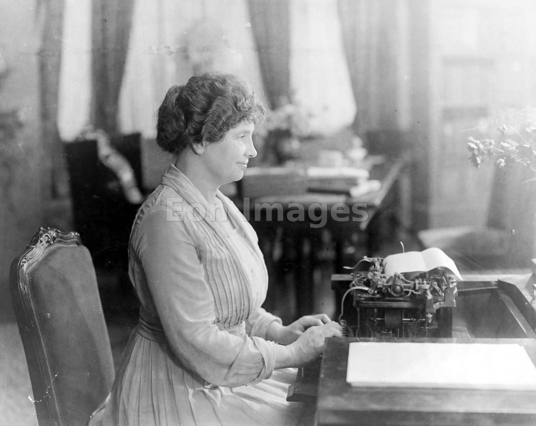Eon Images | Helen Keller uses Braille typewriter