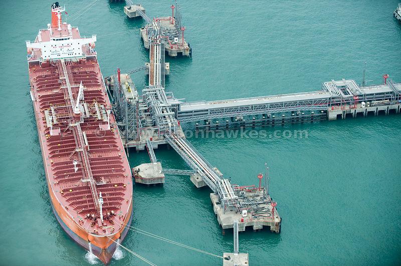 Aerial View Ship At Oil Gas Terminal Hong Kong Jason