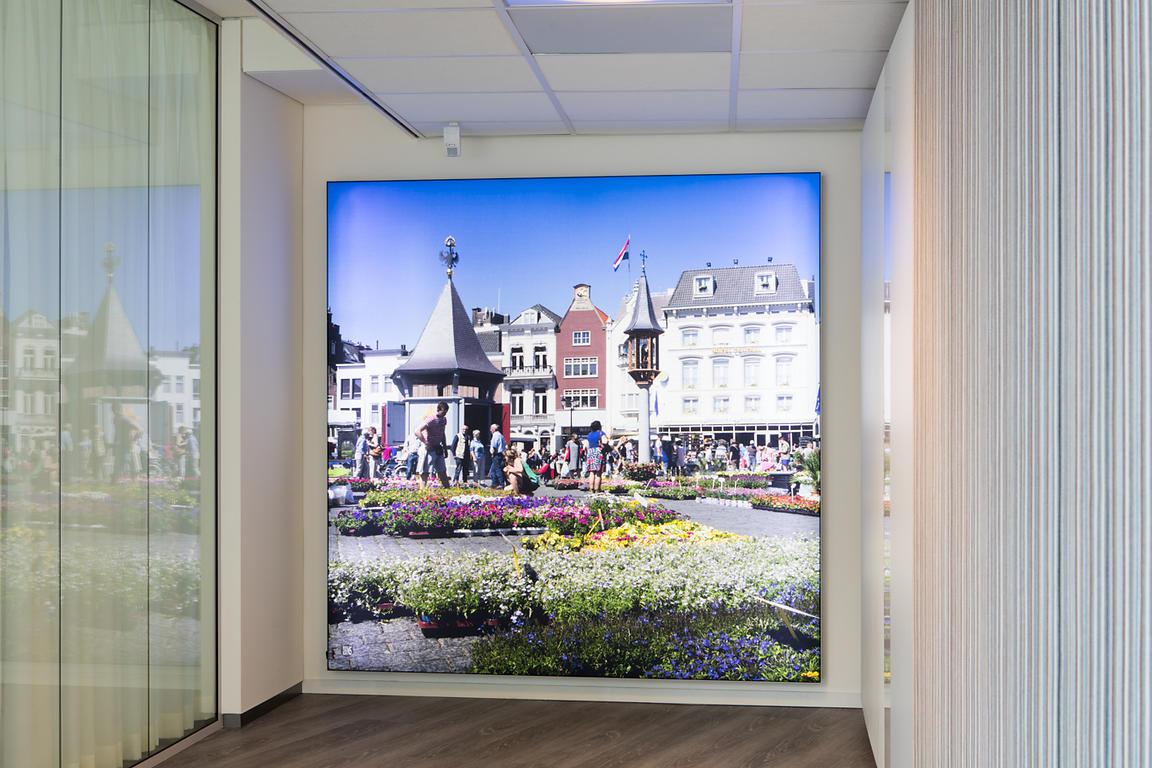 textiel in frame met ledverlichting 189 x 189 cm financieel advies centrum rabobank