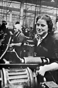 Woman factory worker in Moscow ca. 1941