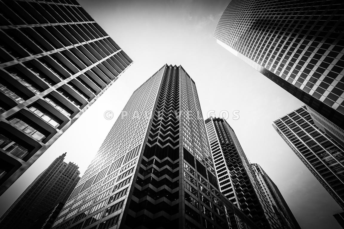 Image Chicago Architecture In Black And White Large Canvas Print