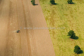 Aerial view of harvesting field
