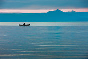 Fishing boat at dawn on Lake Taal, Talisay, Batangas, Philippines