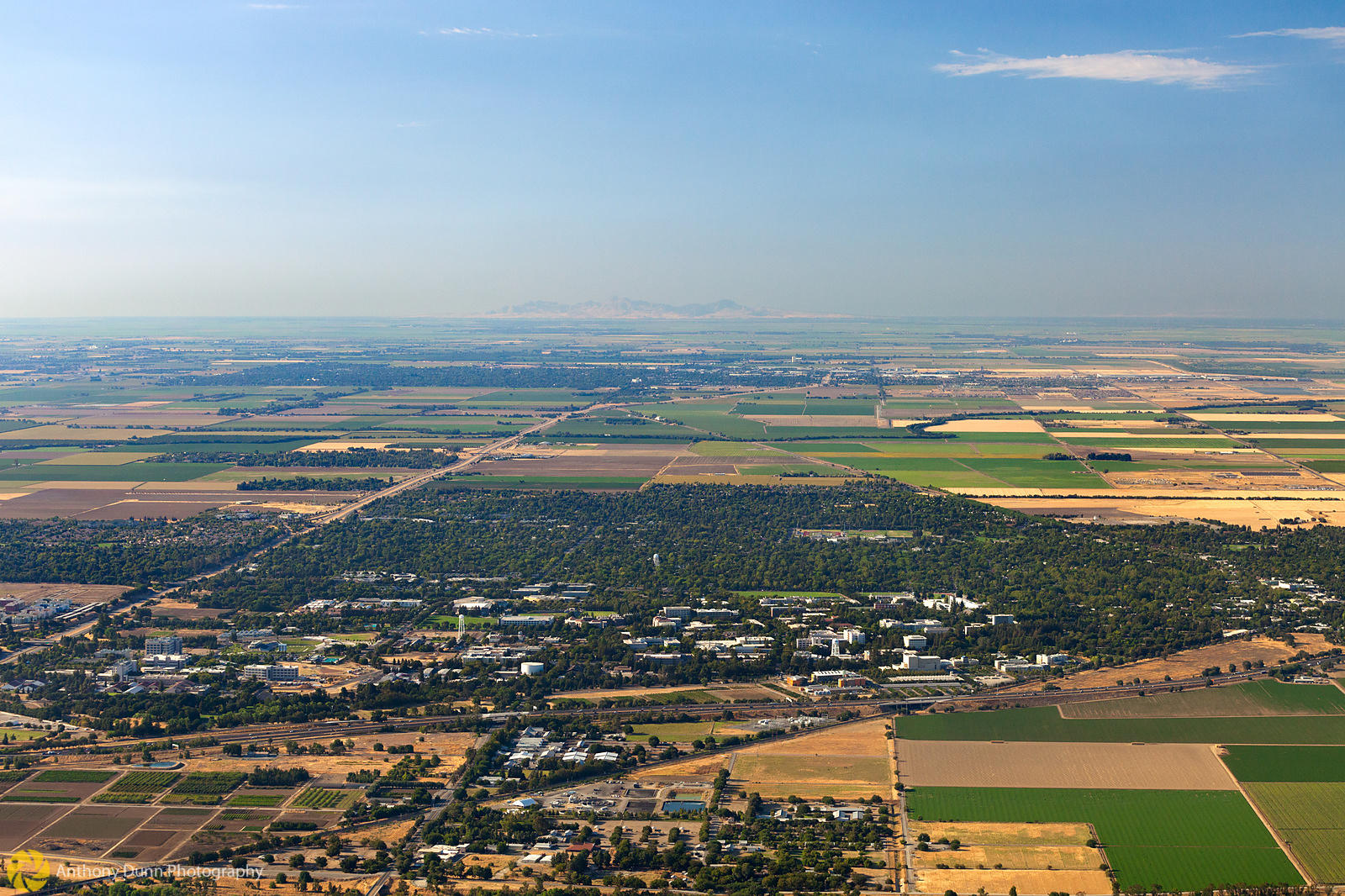 anthony dunn photography aerial view of the city of davis