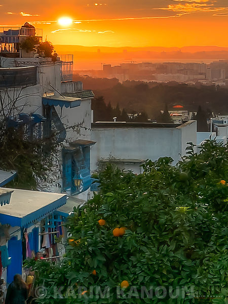 Sidi Bou Said at sunset time from Kahwa el Aalia