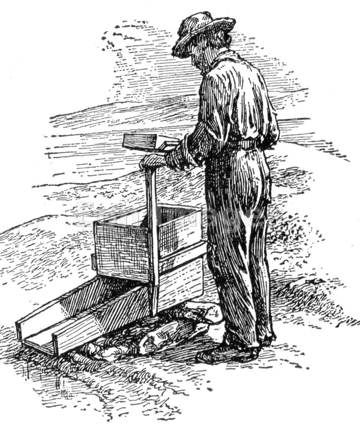 Gold prospector in Oregon Territory, 1850s