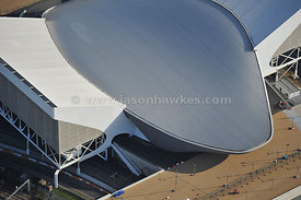 Aquatics Centre, London 2012 Games Olympics. Aerial view. April 2012