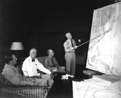 Roosevelt confers with MacArthur, Nimitz and Leahy in 1944