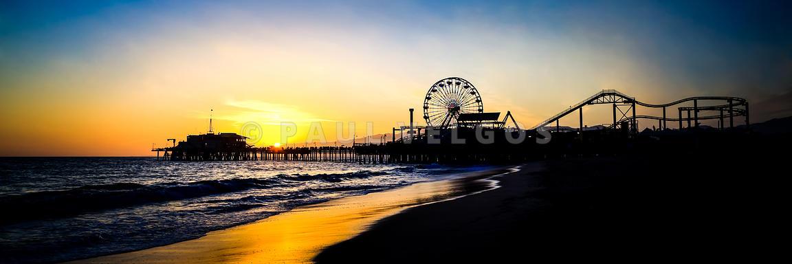 Image: Santa Monica Pier Sunset Panoramic Photo Large Canvas Print ...