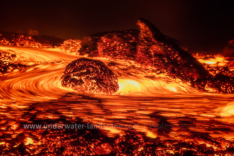 magma river in the piton de la fournaise reunion island