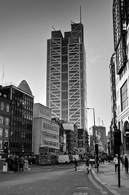 The Heron Tower  from Broadgate black and white