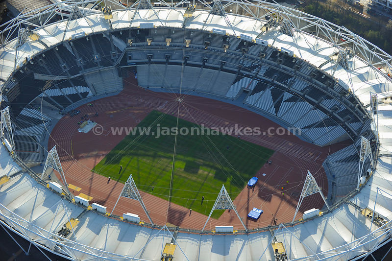 Aerial view of the Olympic Park and Stadium. April 2012