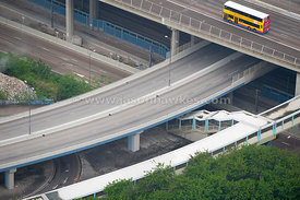 Motorway junction across Hong Kong harbour.