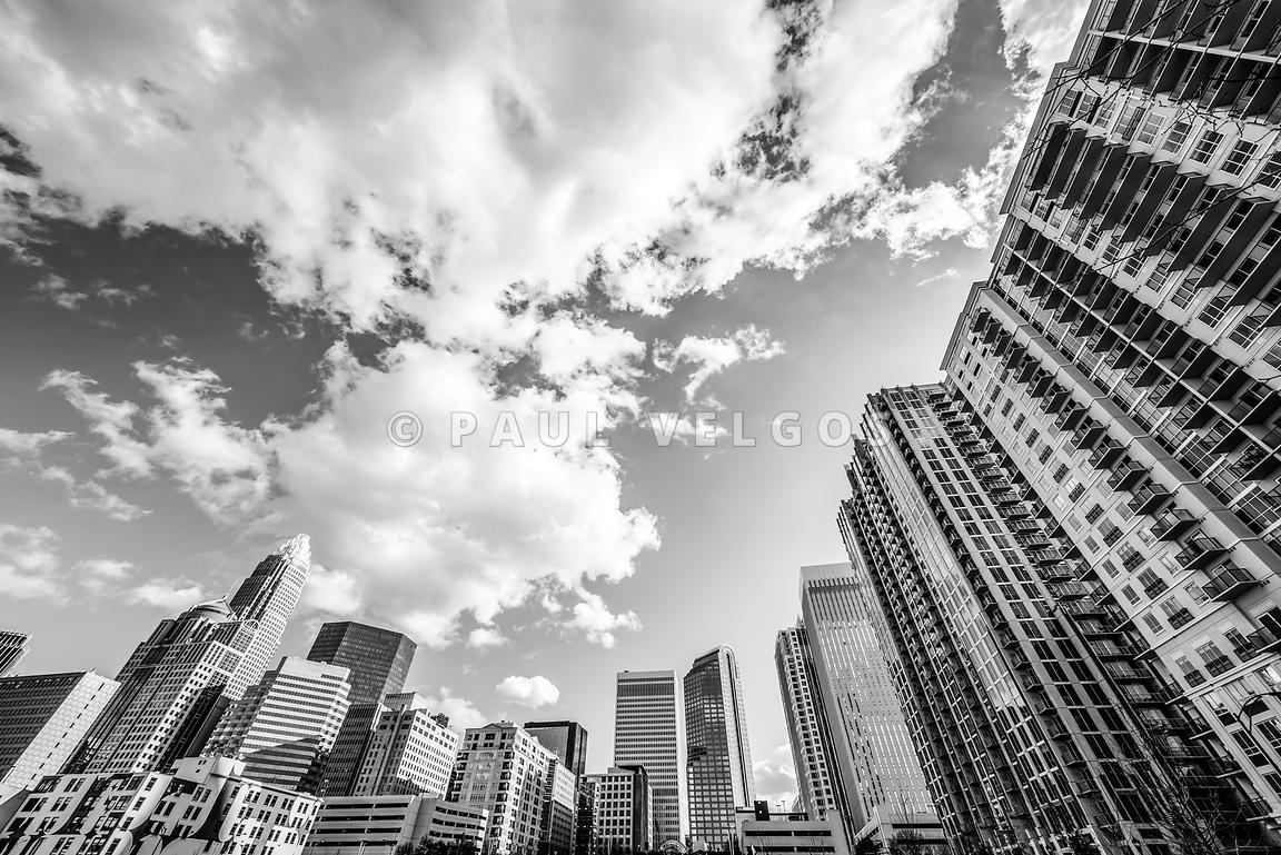 Charlotte skyline wide angle black and white photo