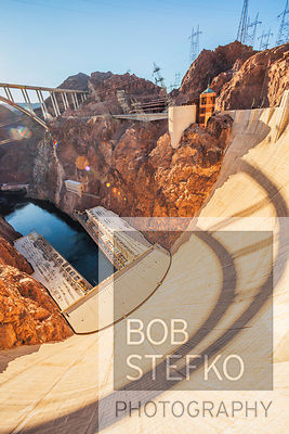 View of Hoover Dam and Black Canyon of the Colorado River, Nevada, USA