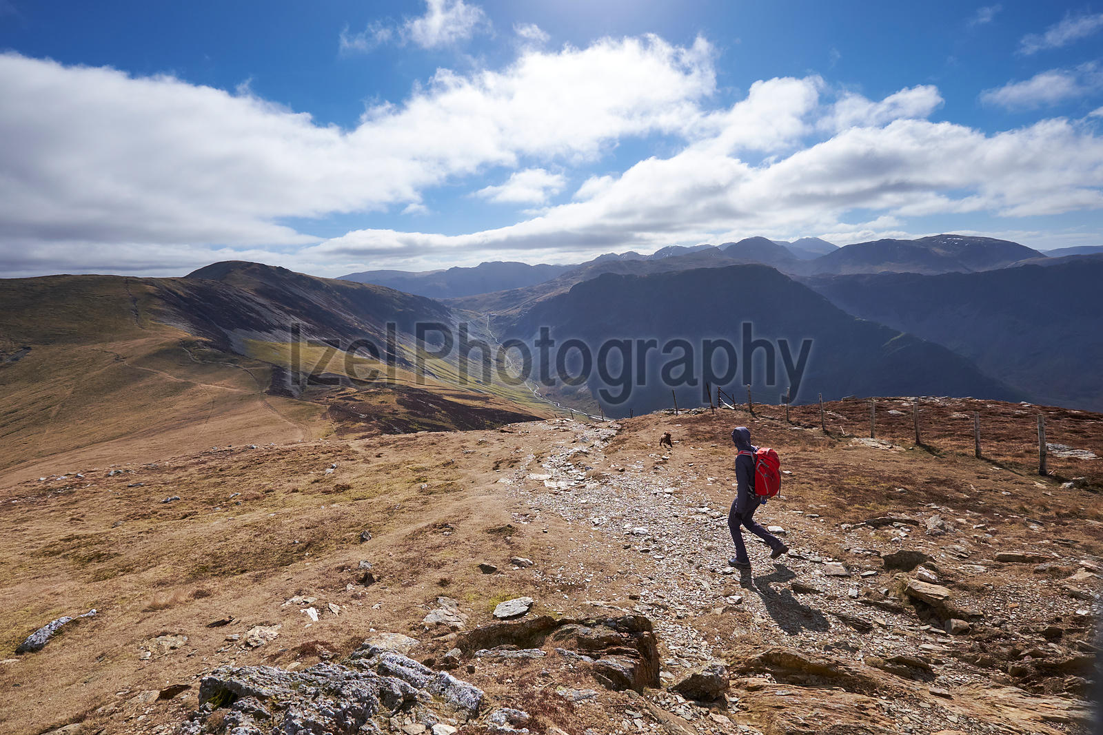 Hiker descending Robinson along Littledale Edge in the Lake District.