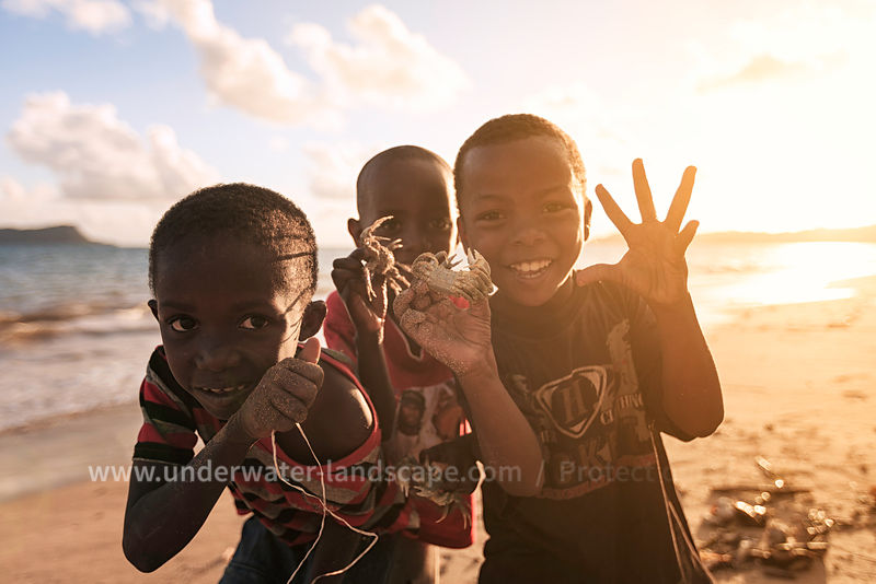 comorian chlidren on a beach of Mohéli island -Comoros-