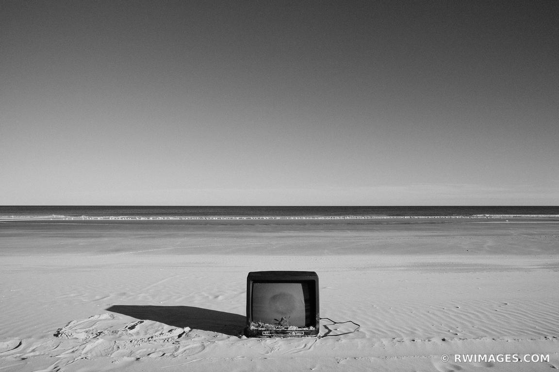 Photo print of black and white beach tv print framed for Fine art photography sales