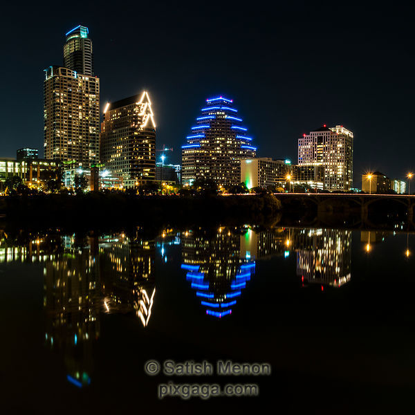 Austin Downtown and reflection in Colorado River.
