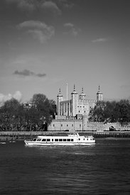 Tower of London with tourist boat B&W