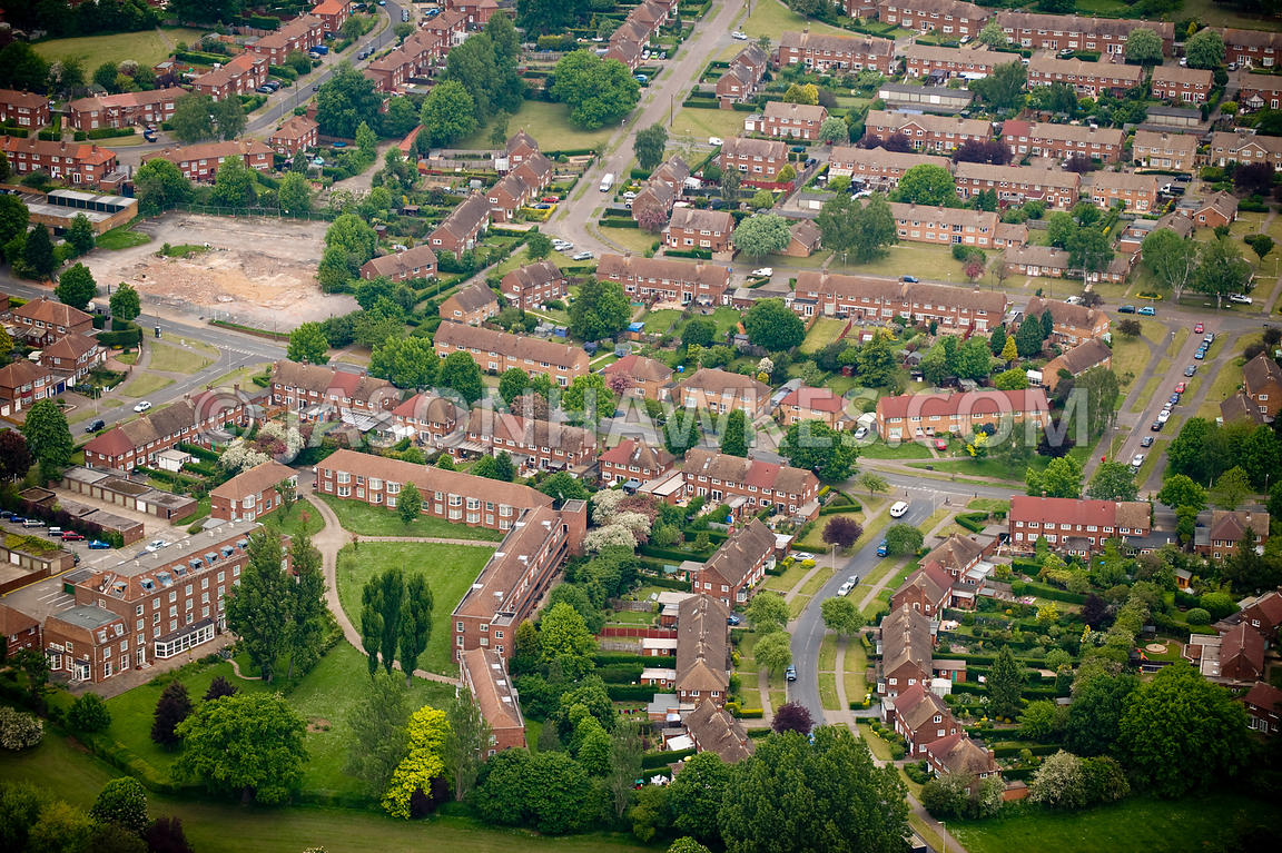 aerial view houses welwyn garden city hertfordshire jason hawkes