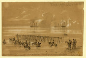 Gunboats shelling the enemy at the battle of Malvern Hill