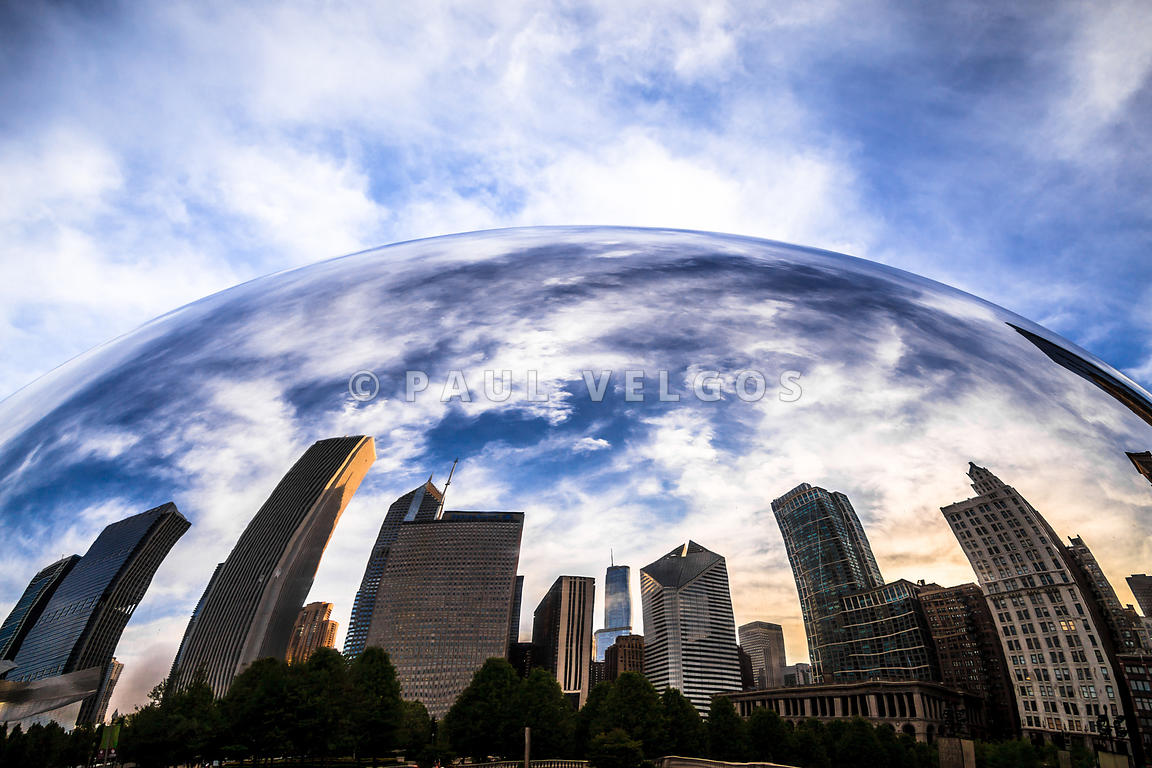 Image Chicago Cloud Gate Bean Chicago Skyline Reflection