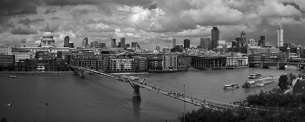 St Paul's and the City panorama BW