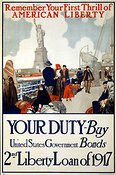 WWI poster for war bonds targeting immigrants