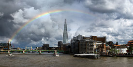Thames rainbow with Shard and Globe