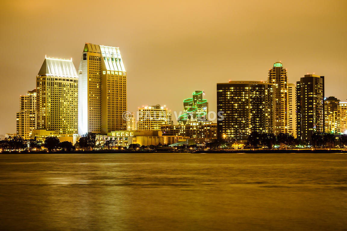 Image: Photo of San Diego at Night Large Canvas Print, Buy Stock ...