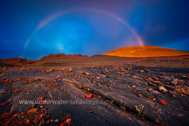 picture of the volcano piton de la fournaise in reunion island-rainbow at la Plaine des Sables