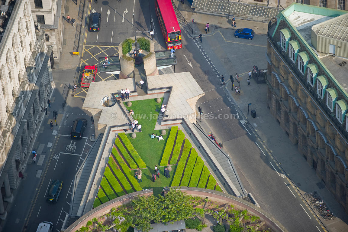 aerial view. aerial view over 1 poultry roof garden, london . jason