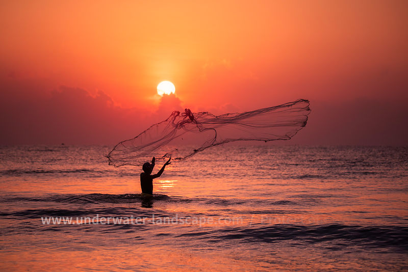 pictures of a Fisherman nets on Nilaveli Beach Sri Lanka.