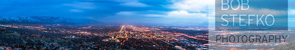 Salt Lake City after dark from Ensign Peak showing the Oquirrh Mountains, Salt Lake City, Utah, USA