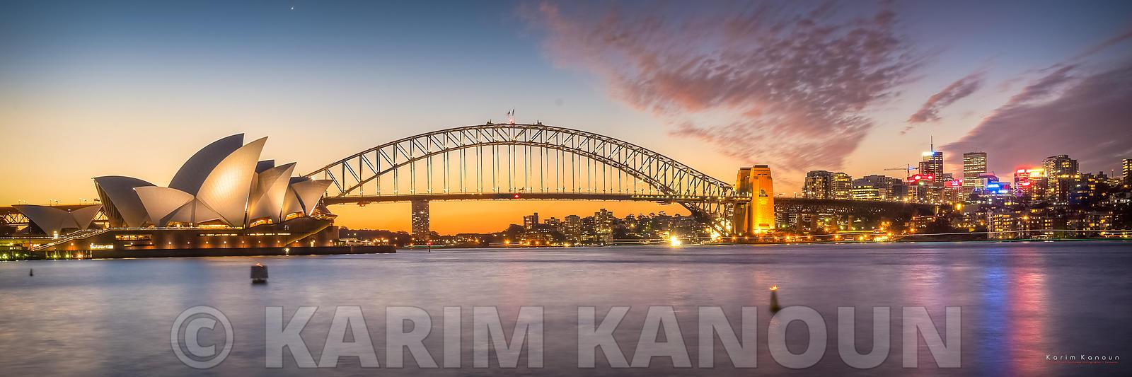 Panorama - Sydney Opera House with pinkish tint sunset