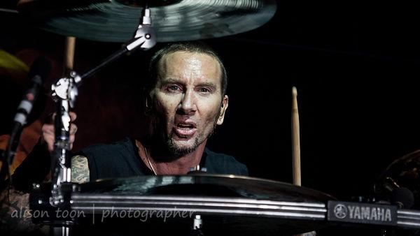 Drummer Shannon Larkin of Godsmack at Aftershock 2014