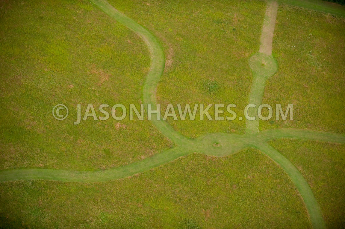 grass field aerial. Aerial View Of Pathways Through Grass Field A