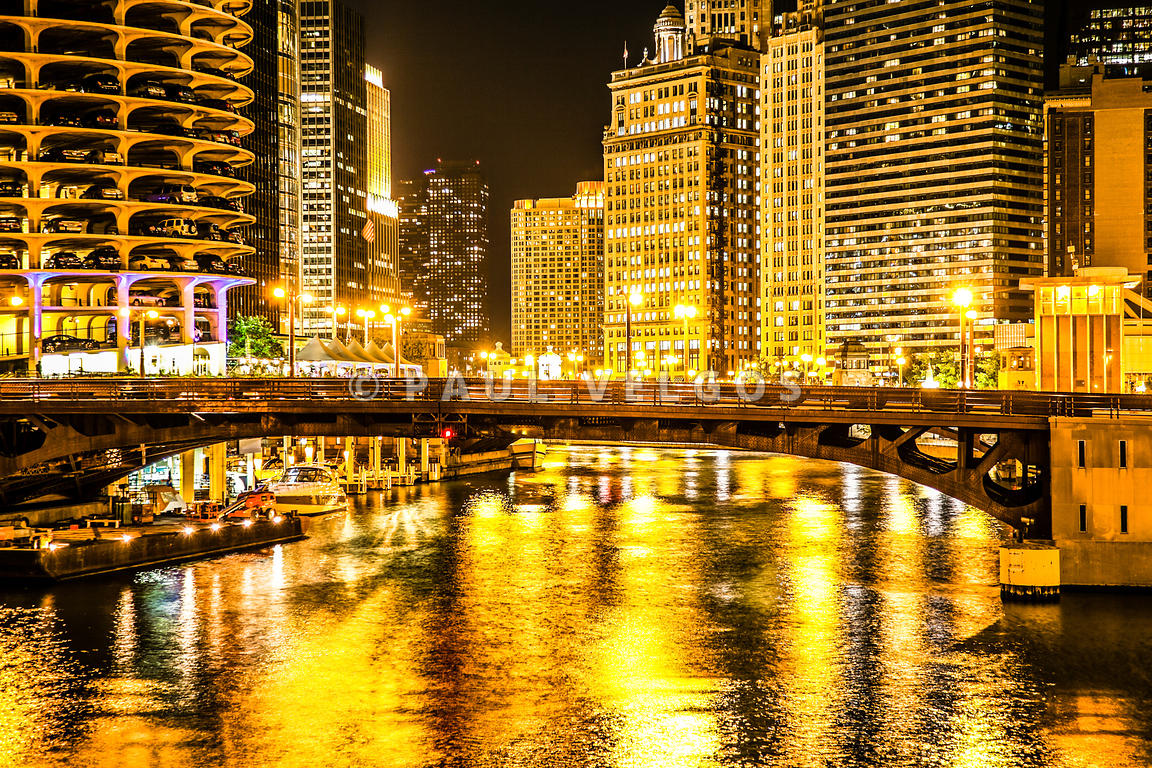 Image: Picture of Chicago Dearborn Street Bridge at Night Large ...