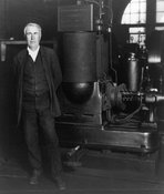 Thomas Edison with dynamo, 1906