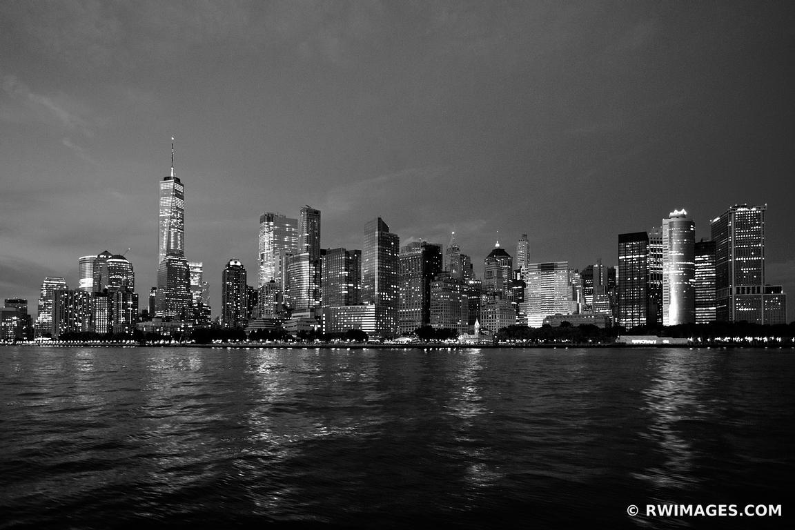 photo print of manhattan skyline night city lights freedom tower new