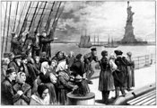 Immigrants eye Statue of Liberty on way into New York Harbor