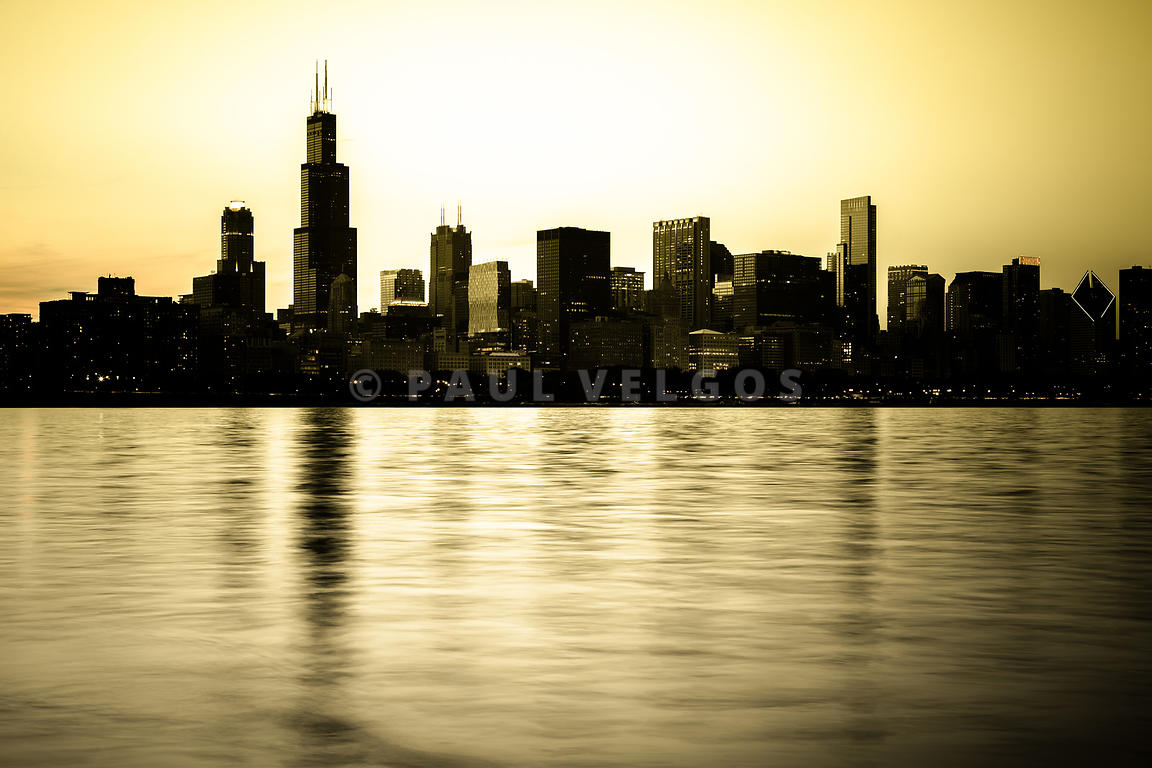 Image: Chicago Skyline at Sunset Photo Large Canvas Print, Buy Stock ...