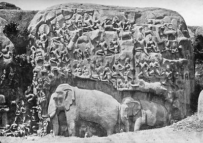 Paradise of Indra sculpture at Mamallapuram