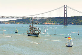 25 de Abril bridge and the Tagus river, Lisbon