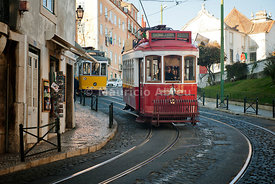 A tramway in Alfama district. Lisbon