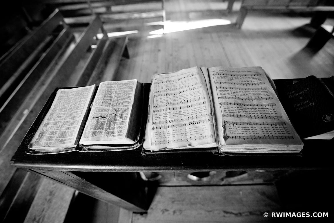 OLD CHURCH BIBLE AND HYMN BOOK CADES COVE SMOKY MOUNTAINS BLACK WHITE