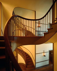 Twin spiral staircases