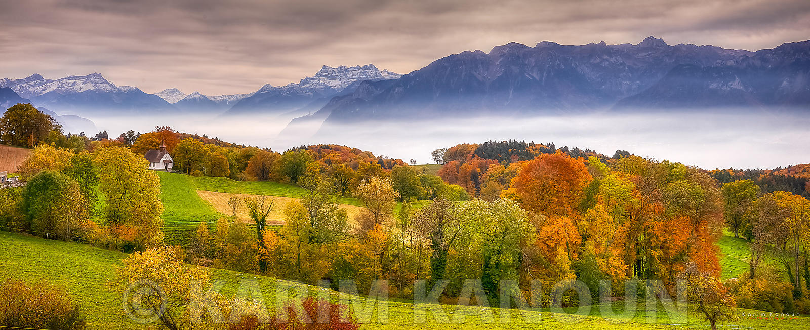 Fresh clear view of Léman Region with autumn colors