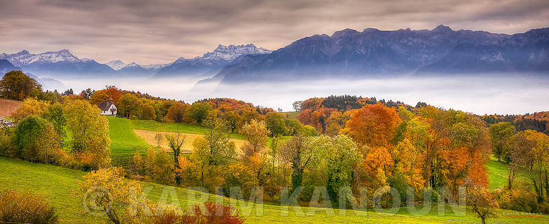 Panorama - Mont Pèlerin - Fresh clear view of Léman Region with autumn colors